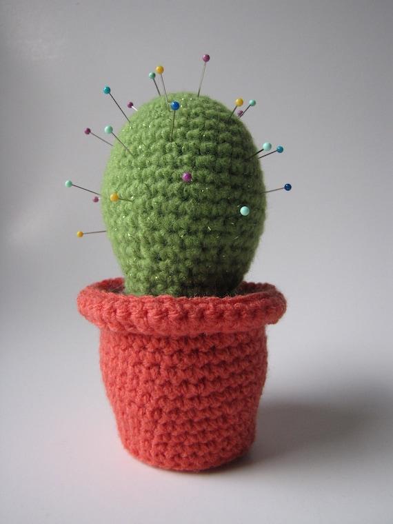 Etsy Amigurumi Cactus : Potted Cactus Amigurumi crochet pincushion by CraftyCatsShop
