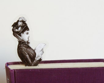 Victorian Lady Bookmark, the reading lady with the feather hat
