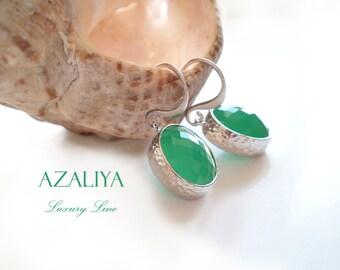 Teal Turquoise Green Jade Drops Earrings in Silver Frame. Azaliya Luxury Line. Bridal, Bridesmaids Gifts.