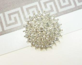 Starburst Crystal Silver Rhinestone Button (25mm, 1pc)