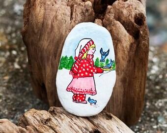 Hand Painted Beach Stone Winter Scene Child Feeding Birds