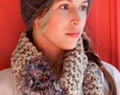 Hand Knit Oatmeal and Fuzzy Grey Multi Colored Infinity Circle Neck Scarf