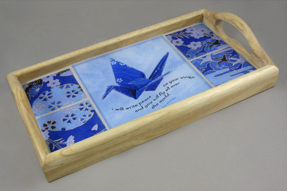 Origami PEACE Crane Wood Serving Tray Sadako by TextAndTileWorks