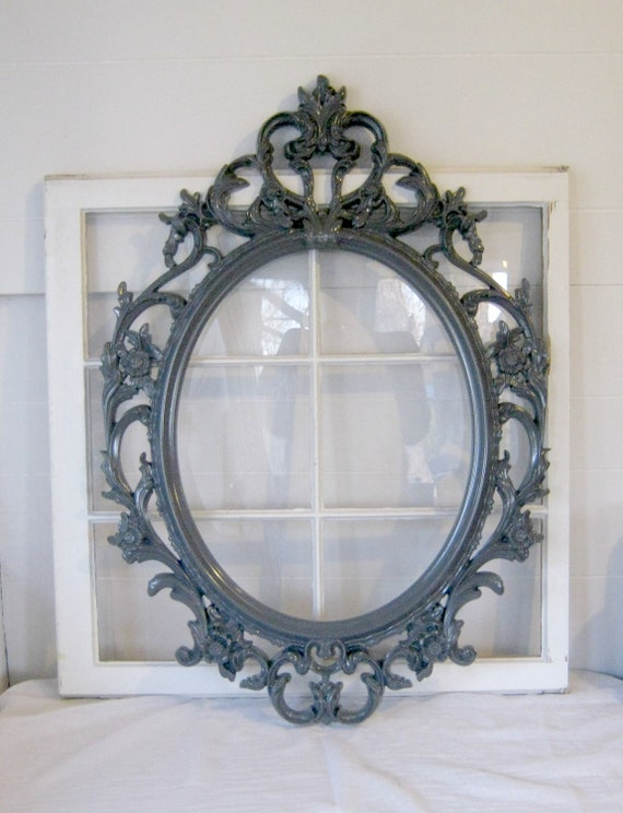 shabby chic baroque ovale open frame tain cadre par peacockattic. Black Bedroom Furniture Sets. Home Design Ideas