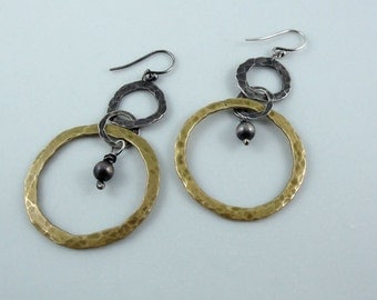 Hoop Earrings, Silver and Brass Hoops, Unique Hoops, Oxidized Silver and Brass Hoops, Hand Forged Hoops