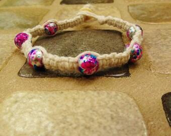 White Hemp Bracelet with Pink Glass Beads
