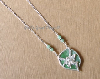 Fairy Pendant Necklace, 29 inches long, Stained Glass, Jade Green Glass w/ swirls of white, plus size jewelry