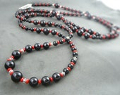 Opera Black and Red Necklace // Black Onyx // Sterling Silver // Red Coral // Opera Length Necklace // Double Necklace // Bracelet // SRAJD