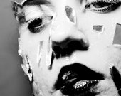 Swimming In Broken Mirrors - FREE SHIPPING Print Black White Gray Melting Surreal Strange Face Eyes Portrait Mouth Shadows Creepy Light Art