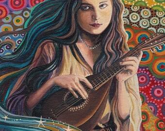 Muse of Music ACEO ATC Altar Art Miniature Fine Art Print Pagan Mythology Goddess Art
