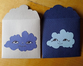 2 blue handdrawn Cloud lovenotes - 100% upcycled vintage paper