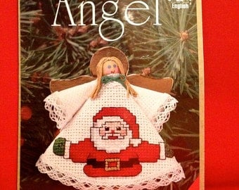 CHRISTMAS ANGEL CLOTHESPIN Counted Cross Stitch Kit - Santa Claus Ornament Stocking Stuffer