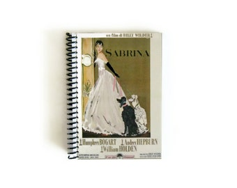 Audrey Hepburn Sabrina Cute Spiral A6 Notebook, Blank, White Long Dress, Sketchbook Pocket Writing Spiral Bound Journal Diary, Gifts for Her