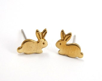 Bunny Stud Earrings,Animal Jewelry,Golden Brass Rabbit Earrings,Sterling Silver Studs,Tiny Earring Posts,Hypoallergenic Earrings (E127)