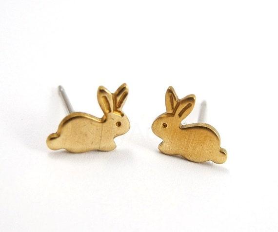 Easter Bunny Stud Earrings,Golden Brass Rabbit Earrings,Sterling Silver Studs,Tiny Studs,Animal Jewelry,Hypoallergenic Earrings (E127)
