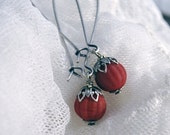 Choose your color / style, Red berries in the snow - Deep red matte opaque red glass berry, Antique silver, XL French earwires, Customizable