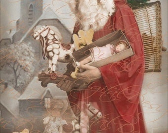 Christmas, Santa, French Le Pere Noel, Up on the Roof with teddies and gifts-French Postcard -Instant Digital Download Joyeoux Noel - FC056