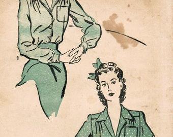 1940s Advance 3047 Vintage Sewing Pattern Misses Blouse, Shirt Size 12 Bust 30