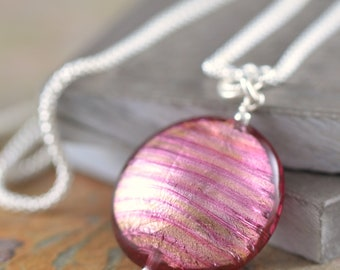 Ruby Necklace Pink glass necklace Murano glass necklace Pink pendant Venetian glass necklace