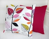 pair of pillow covers leaves accent  raspberry pink black lilac amethyst orange cushion covers 18 inch