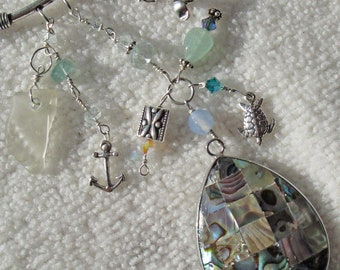 ALBALONE SHELLING Cluster Pendant Necklace Of Lake Erie Beach Glass, Aquamarine, Agate, Fluorite, Mother Of Pearl, Sterling Silver OOAK
