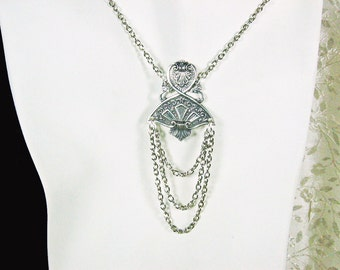 Victorian Fan and Chains Swag Necklace Silver OX