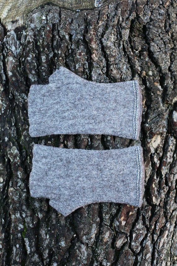 Wild Grey and organic felted warm felted fingerless in Women's size  S / Ready to ship