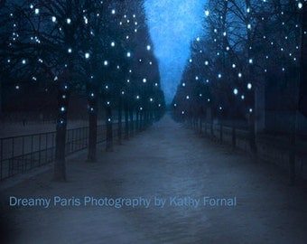 Paris Photography, Blue Tuileries Holiday Trees, Paris Fantasy Starry Night Trees, Paris Sparkling Fairy Lights Trees, Paris Tuileries Print