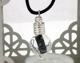 Music lovers glass vial pendant with black scroll of music and a wire treble clef- Great musical Christmas gift