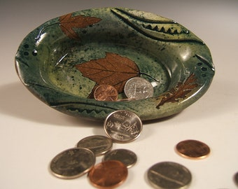 stoneware  coin candy serving bowl,small oblong with leaf impressions