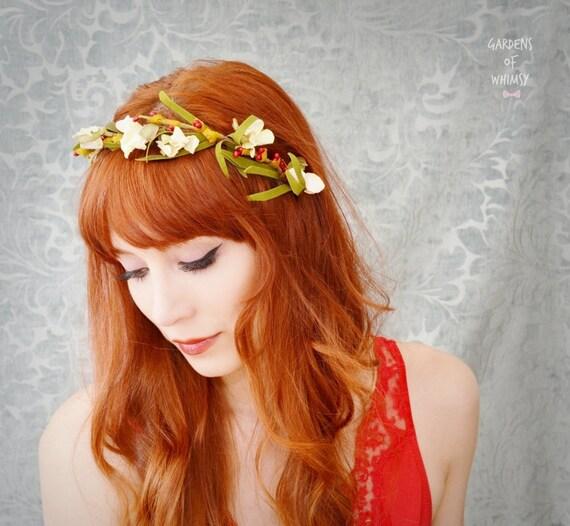 Woodland headband, floral crown, rustic head piece, hair accessory