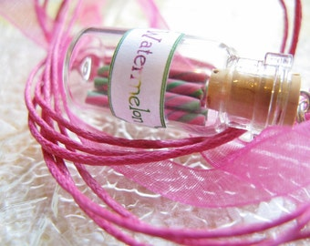 Watermelon Candy Jar Necklace- Green and Pink Swirl - Miniature Glass Bottle Jewelry