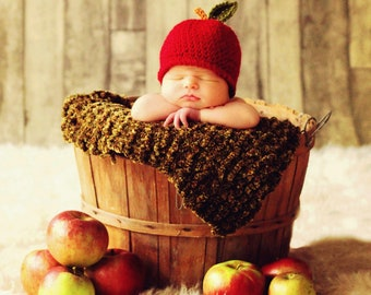 Hat Baby CROCHET PATTERN Easy Beanie in 5 sizes, 0 to 10 years Baby Child An Apple a Day