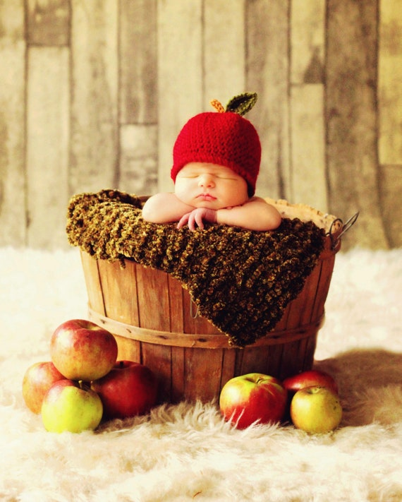 Hat Baby CROCHET PATTERN Easy Beanie in 5 sizes, Baby Child An Apple a Day