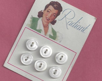 Vintage 1940s  RADIANT Buttons Unused White Pearl Sewing Button Card Woman Ladies Clothing Dress Graphics Art Deco Lady Notion 40s 1940 Set