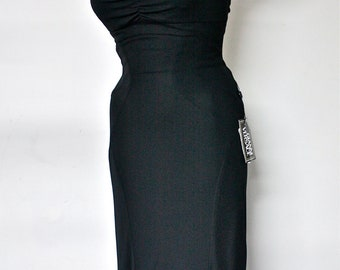 GIANNI VERSACE COUTURE Vintage Dress Black Strapless Cutout Mermaid - Deadstock - Authentic -