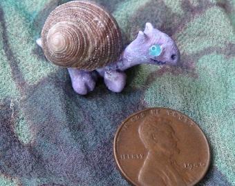Purple SEA DRAGON - Just 1.25 Inch Long Little Sculpture w Seashell Sea Shell OOAK, Cute Itty Bitty Critter Wee Whatsit Miniature Dragons