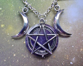 Triple Goddess Amethyst Pentacle Moon necklace