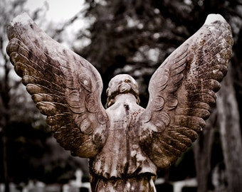 Cemetery Photo, Angel Wings, Graveyard, Angel Wall Art, Condolence Gift, Religious Art, Wall Decor, Guardian Angel, Fine Art Print, Gothic