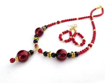 Red and Gold Necklace, Red and Black Glass Bead Pendant, Faceted Gold Beads, Luxury Necklace, Deep Red Shell Beads, Glass Pendant