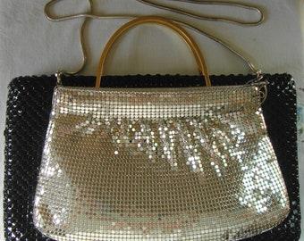VINTAGE METAL MESH Bag Silver Metal Mesh Evening Hand Bag Clutch Shoulder Bag Retro Crossover Bag Disco Bag