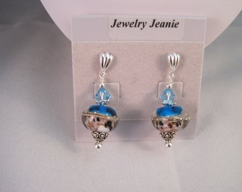 Turquoise, White, and Silver Lampwork, Swarovski Crystal, Sterling Silver Earrings  ES808