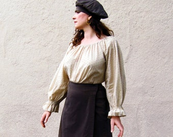 peasant Blouse cotton dotted swiss long sleeve pirate style handmade By Brightest Star M/L