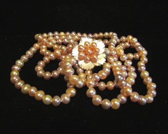 OOAK Pearl Necklace 3 Strand Multi Color Pearl Mother Of Pearl Sterling Pearl Clasp GORGEOUS