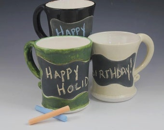 Made to Order-Hand Thrown Chalkboard Message Mug with Chalk