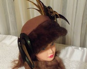 Avant Garde Hat, cinnamon brown with vintage mink fur, Fall Formal Hat, feathers, vintage jewelry adorned, vintage couture cap.
