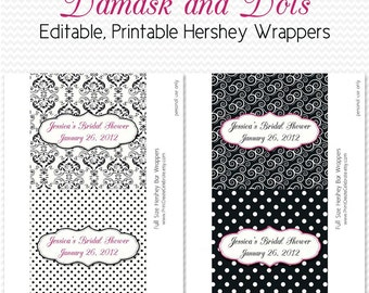 Damask Dot Candy Wrappers, Bridal Shower Favors, Black and White Party Favors, Hot Pink, Candy Bar Label, Chocolate Bar - Editable Printable