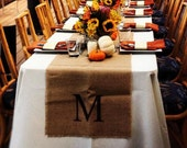 Set of 6 Wedding Burlap Initial Table Runners 15 Inches Wide - Monogram Burlap Table Runners - Fall Wedding Tabletop Decorations