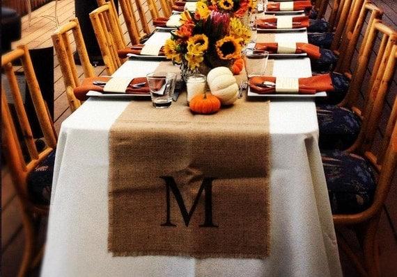 monograms burlap table runner