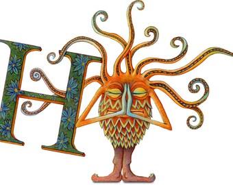 Monster - Giclee - Childrens Art - Letter H - Monster Poster - Monster Art - Alphabet Letter Poster - Monster Print - Cute Monster Print